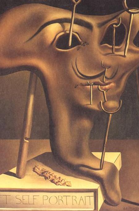 Autorretrato blanco con bacon frito, Salvador Dalí, 1941
