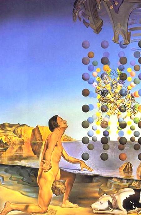 Dalí nu, contemplant cinq..., Salvador Dalí, 1954